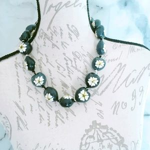 Black Floral Tropical Necklace Jewelry
